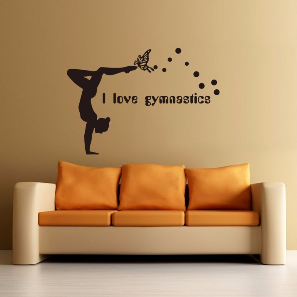 I love gymnastics vinyl wall decal girls room decor diy art mural i love gymnastics vinyl wall decal girls room decor diy art mural wallpaper removable wall stickers in wall stickers from home garden on aliexpress amipublicfo Image collections