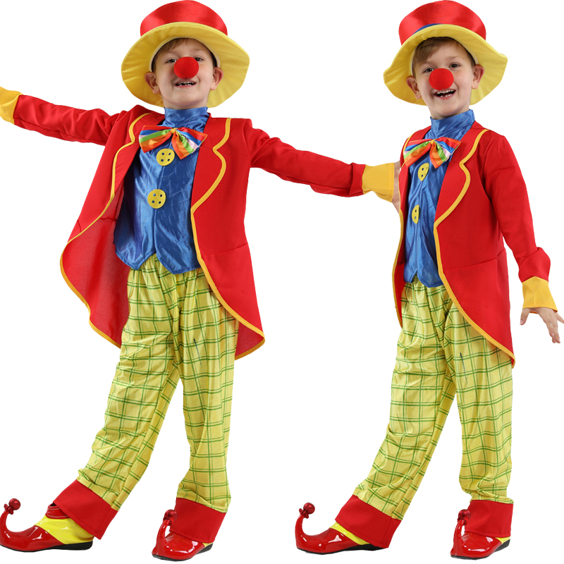 NEW 2018 Halloween Costumes Children Circus Clown Naughty Harlequin Fancy Fantasia Infantil Cosplay Clothes for Boys Girls 4-12Y