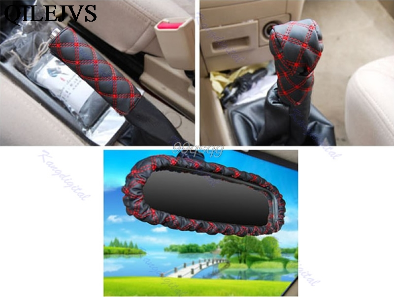 3in1 Red Stitch Car Auto Gear Shift Knob Hand Brake Rearview Mirror Cover Set Drop shipping