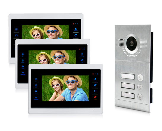 XINSILU New Home Intercom System Doorbell For 3-Family 7Video Door Phone w/t SD Card Slot,Can Connect Extra IP Camera & Alarm