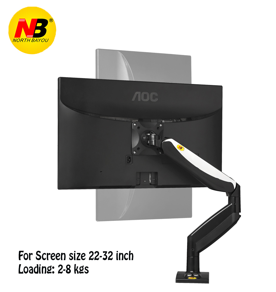 NB F85A Monitor Desktop Stand Mechanical Spring Lifting TV Mount 22-32 inch Long Arm Full Motion LCD Holder Base with 2 USB Port nb f180 gas spring full motion 17 27 dual screen monitor holder desktop clamping or grommet tv mount with usb and audio port