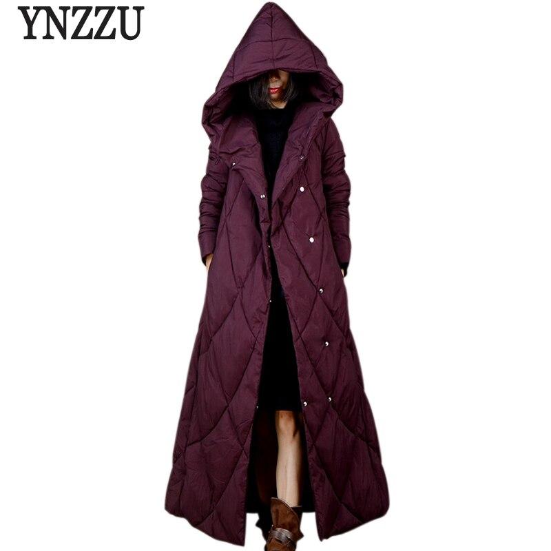 YNZZU Vintage Women Winter Down   Parka   2018 New Elegant Black Extra-Long Hooded Warm Coat Women Thick Outwears High Quality YO630