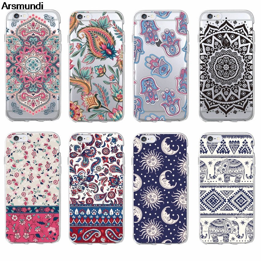 Arsmundi Boho Indian Floral Lotus Elephant Paisley Tribal Phone Cases for iPhone Plus X Case Crystal Clear Soft TPU Cover Cases