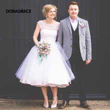 vestidos de novia New Fashion Mid-Calf Beach ShortTulle Wedding Gowns Designer Dresses DG0104