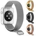 Para a apple watch band 42mm milanese laço cinta banda ligação pulseira de aço inoxidável para a apple iwatch 42mm 38mm preto