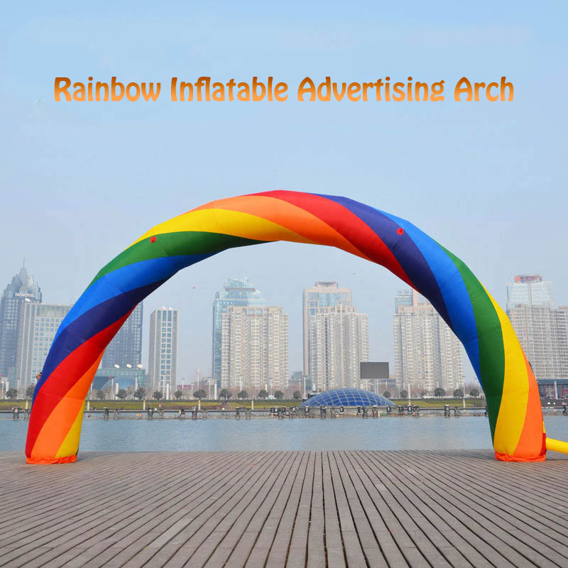 20ft*12ft D=6M Inflatable Rainbow Arch Good Quality Rainbow Inflatable Balloon for Special Activities 32ft 10m inflatable rainbow arch for advertisement with blower 220v 110v