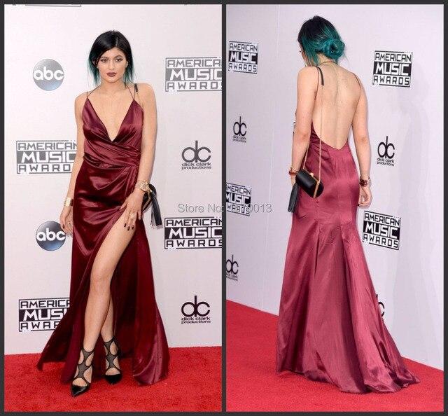 Sexy Backless Mermaid Kylie Jenner Celebrity Dresses 2015 Deep V-neck High  Split Party Gowns Hot Designer Red Carpet Dresses de1406123d12