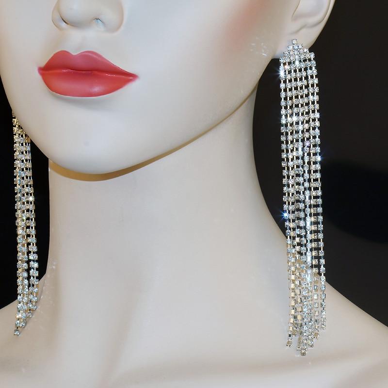 5 Long Bridal Crystal Dangle Chandelier Earrings Glass Rhinestone Silver Color Sparkly Drop Tassel Wedding Jewelry Er105