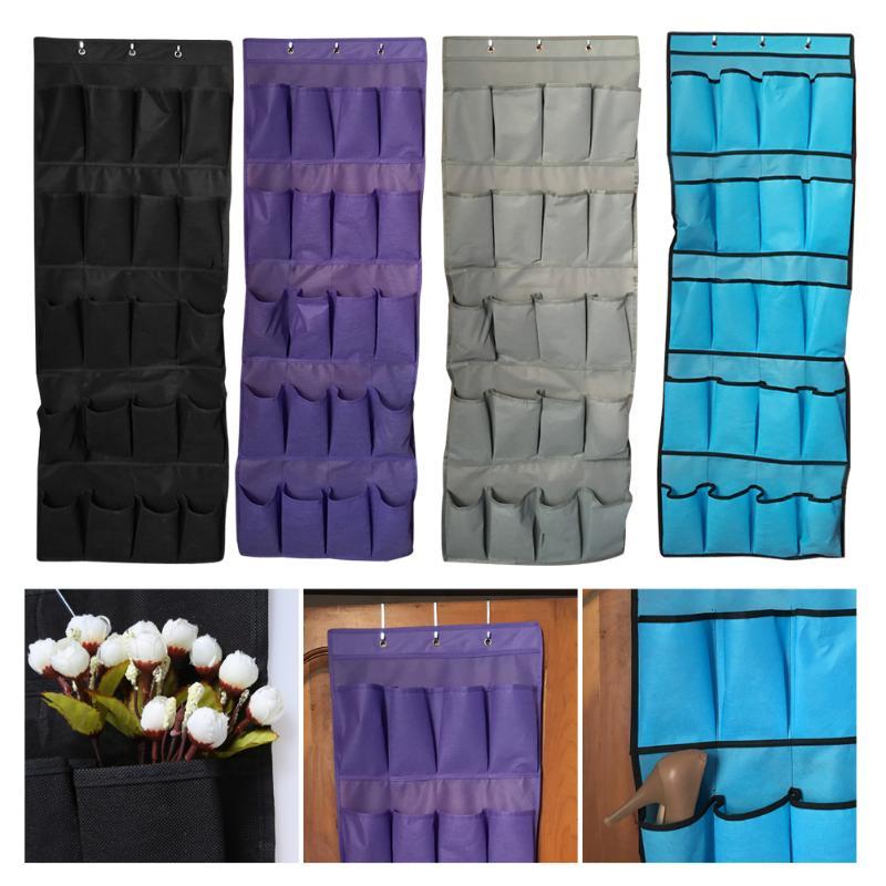 20 Pockets Plastic Hanging Shoe Organizer Rack Storage Space Saver Door Free Nail Bedroom Tie Waistband Holder Closet