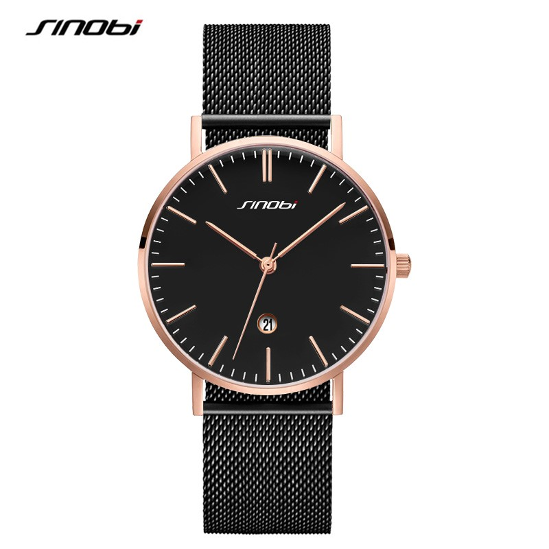 SINOBI New Fashion Quartz Watch Men Stainless Steel Strap Bracelet Watches Luxury Waterproof Lover's Watch relogio masculino