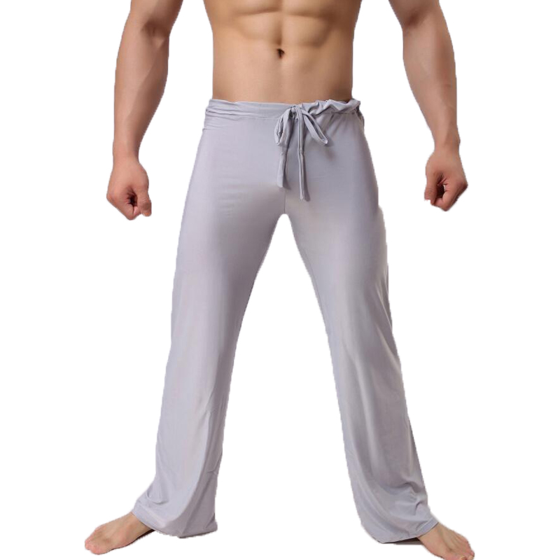 Mens Pants Mens Sleep Bottoms Viscose Home Pants Loose Sexy Mens Lounge Pants Milk Silk Fashion Strap Sexy Male Pajama Underwear
