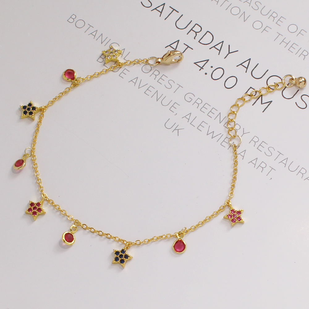 2020 Hot Multicolor CZ Zircon Star Link Chain Bracelet Fashion Adjusted Colorful Crystal Bracelet Jewelry For Women Gifts