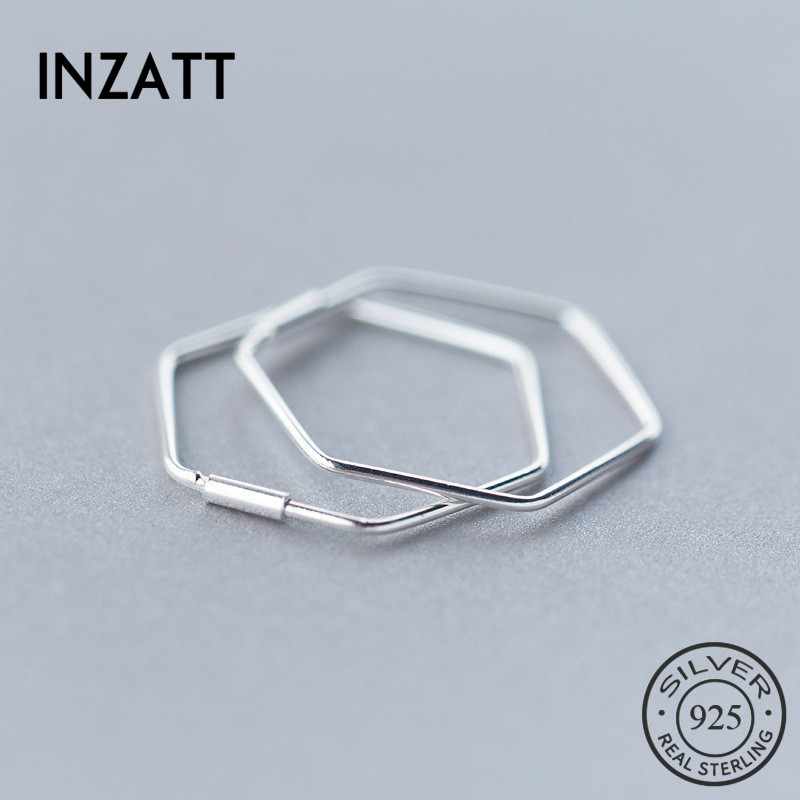 INZATT 100% 925 Sterling Silver Hyperbole Minimalist Geometric Polygon Hoop Earrings Accessories For Women FINE Jewelry Gift