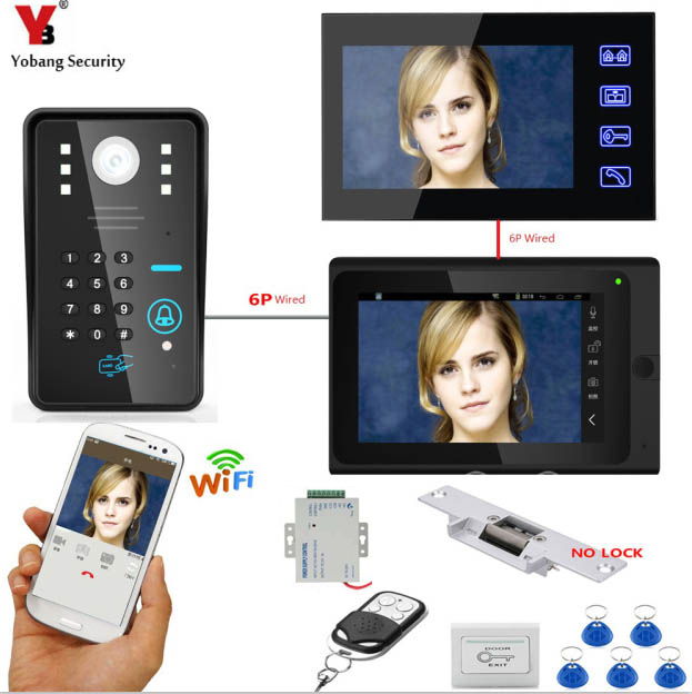 YobangSecurity Video Intercom 2X 7 Inch Monitor Wifi Wireless Video Door Phone Doorbell KIT RFID Password+Door Lock+Power Supply