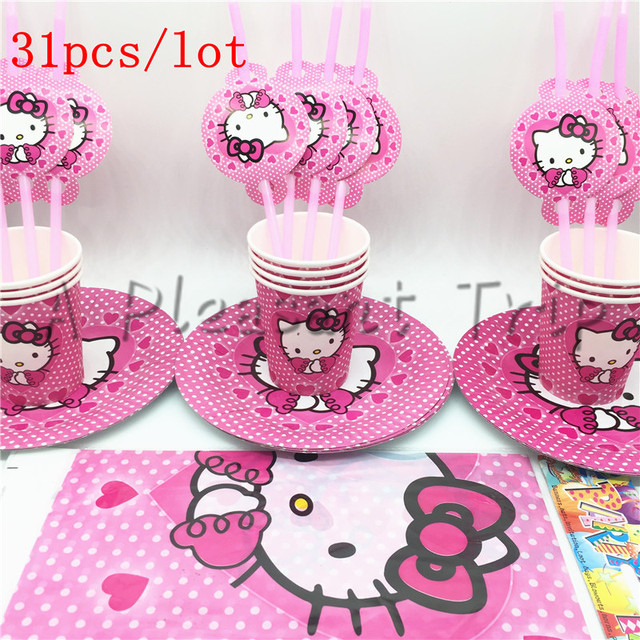 31pcs Lot Hello Kitty Cartoon Birthday Party Theme Package Supply Festival Kitten Decoration Kids
