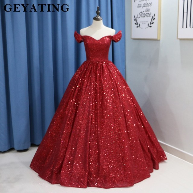 Colorful Wedding Dresses: Glitter Wine Red Sequins Ball Gown Wedding Dress Luxury