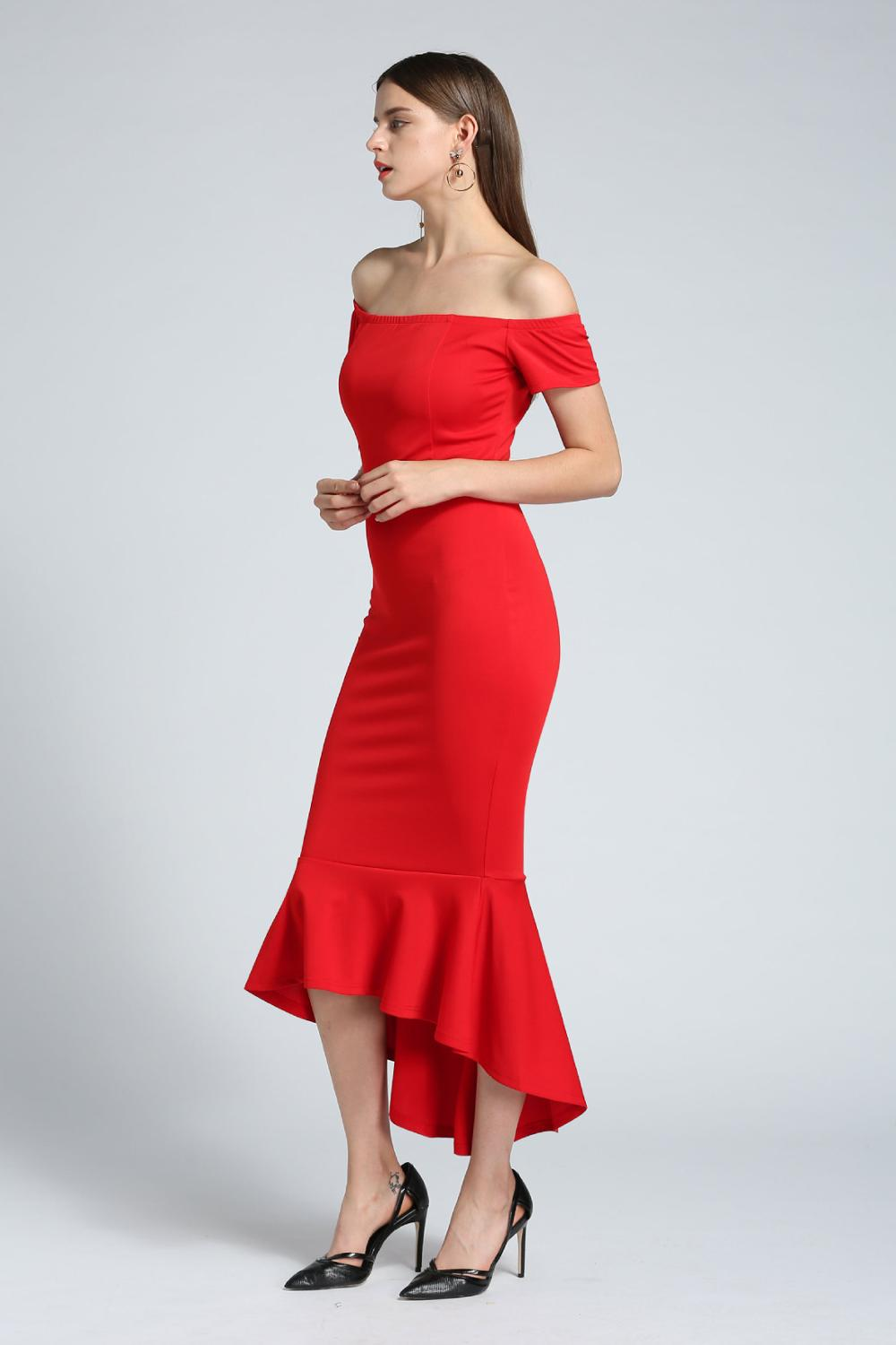 In Stock Cheap Red Plus Size Mermaid Prom Dresses Off-Shoulder HI-Lo  Ankle-Length Long Evening Prom Party Gowns