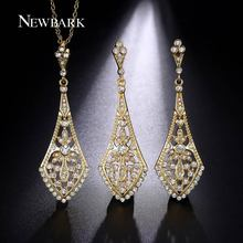 NEWBARK Stunning Chandeliers Jewelry Sets Hollow Earrings And Necklace Handmade Round CZ Diamond Retro Jewelry