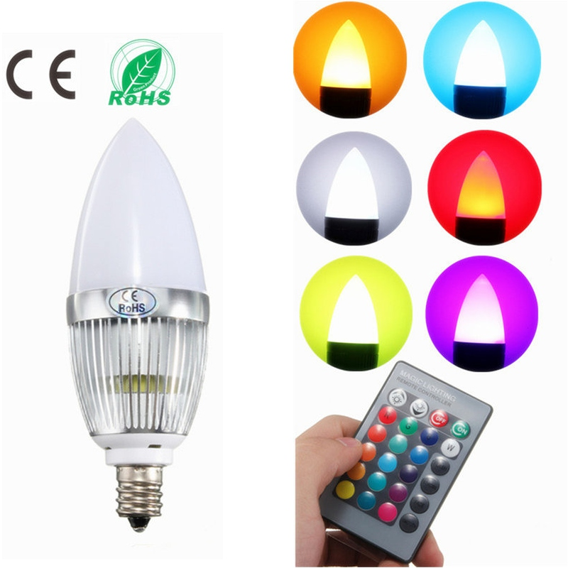 LED Lamp Bulb E12 3W RGB Remote Controll Color Changing Candle LED Light Bulb AC110V/220V LED Chandelier Lighting
