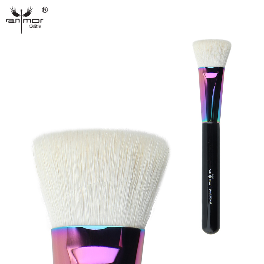 Anmor Goat Hair Flat Top Face Brush High Quality Powder/Blush Makeup Brushes for Daily or Professional Make Up CFCB-B05 1pcs pro quality good professional karma optical blurring with original package single big face powder make up brush