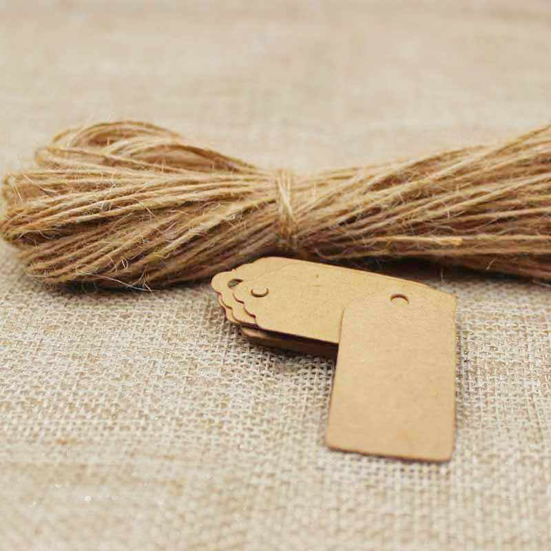 wholesale Kraft /white/black blank scallop Gift Tag products hang tag 2*4cm  50pcs +50pcs hemp string tag with string