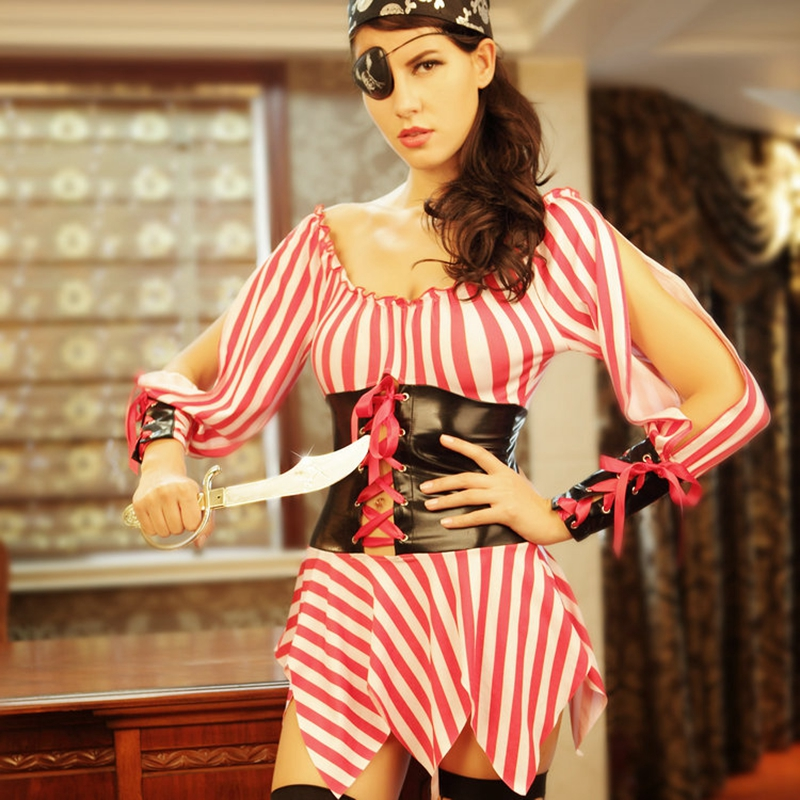 Pirates cosplay sexy costumes Pirgots uniform outfit halter dress Halloween costume for roleplay games  8553