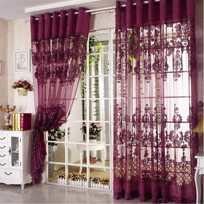 2017 Gold Luxury Jacquard Tulle Sheer Window Curtains For