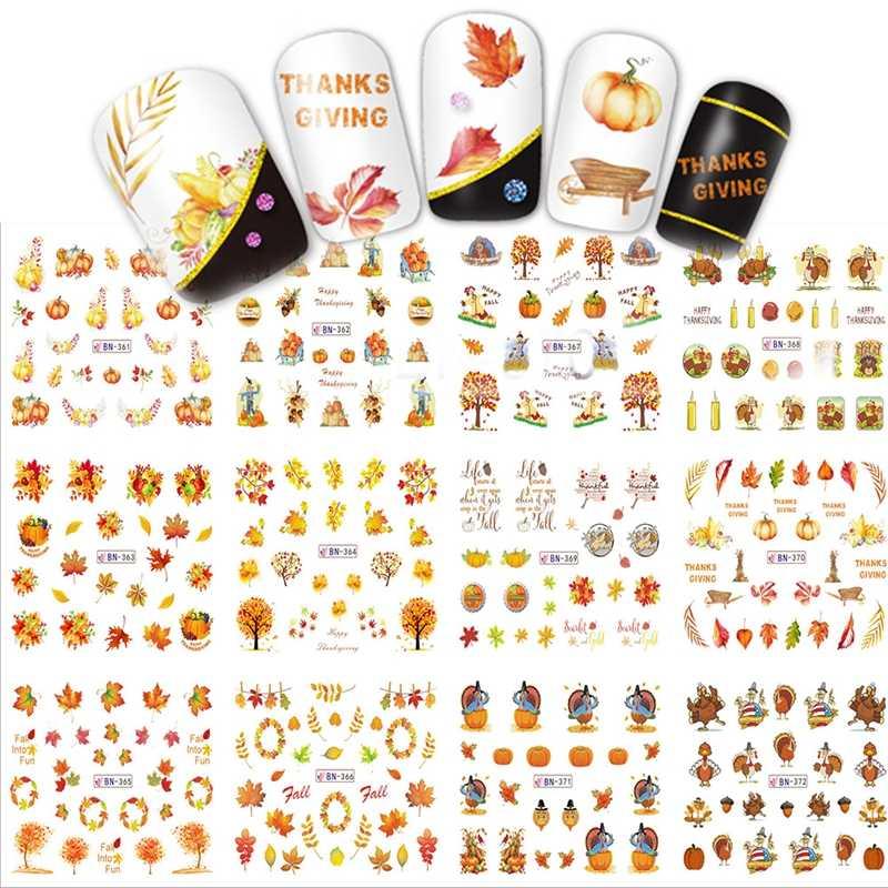12 は水転写ステッカー感謝祭ネイルアートデカール収穫休日秋のカエデの葉カボチャ七面鳥