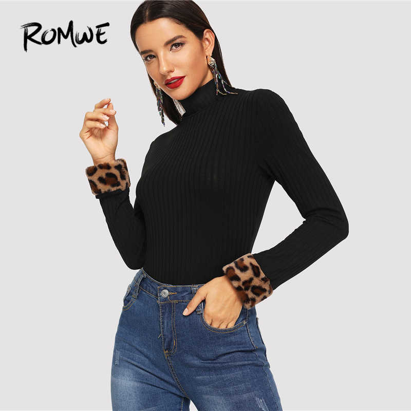 324778e8e23f7 ROMWE Slim Fitted High Neck Tee 2019 Black Chic Long Sleeve Leopard  Contrast Faux Fur Shirt