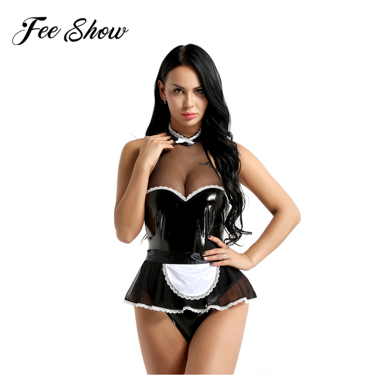 Sexy Adult Women One-piece Reflective Bodysuit Patent Leather Maid Cosplay Costume Halter Jumpsuit with Apron Maidservant Outfit