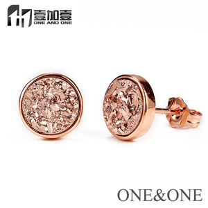 EYIKA Hot Sale Trend crystal Women Jewelry Natural Druzy Stud Earring Round 6mm Rose Gold Earring opal drusy for Women/Girl