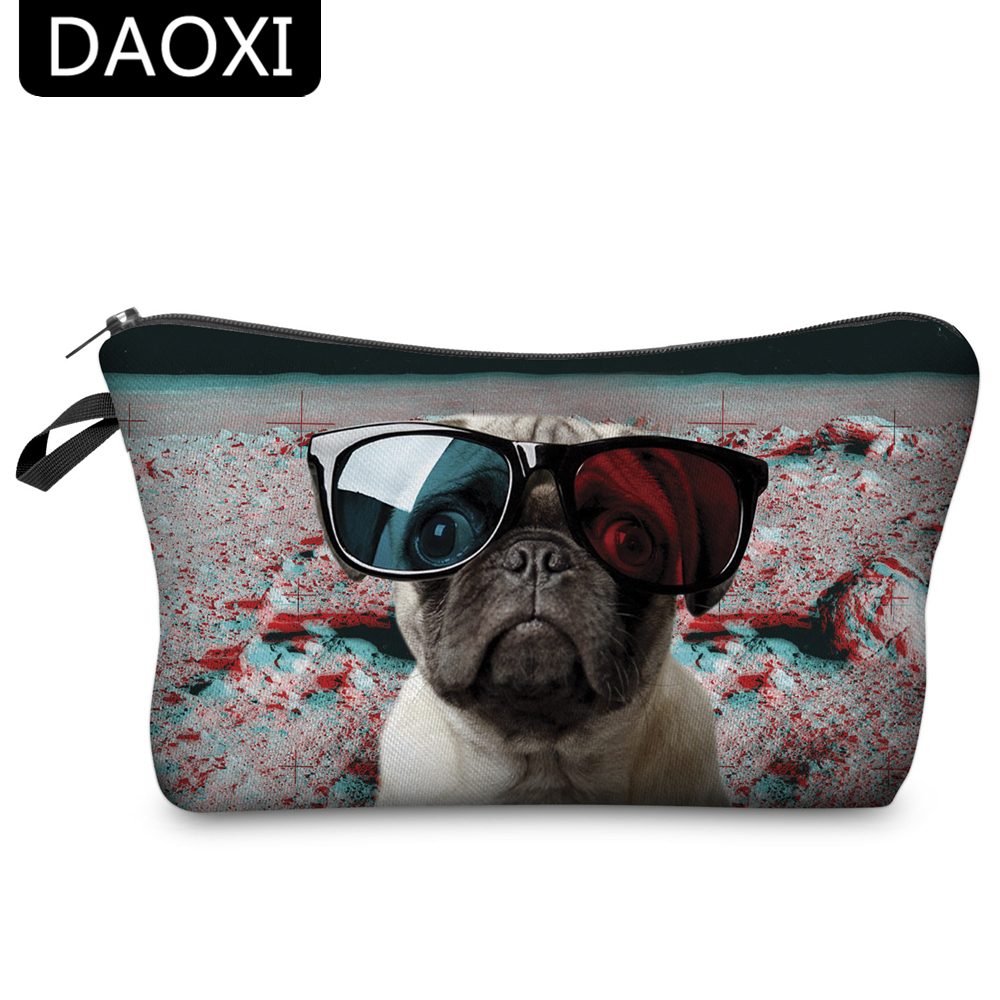 DAOXI Cosmetic Bags 3D Animal Printing Glasses Dog Fashion For Travell Female Makeup Storage