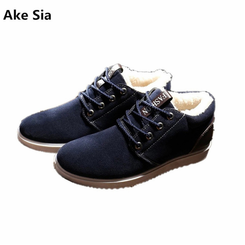 Ake Sia Boots men winter shoes 2017 fashion lace-up snow boots solid black/blue/yellow ankle boots plush warm shoes каталог sia