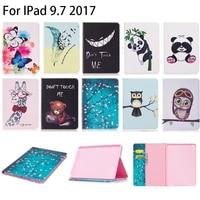 For Apple IPad 9 7 2017 Case Fashion Owl Panda Cartoon Pattern PU Leather With Card