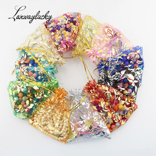 100pcs/lot Rose Candy Jewelry Packaging Drawstring Organza Bags Pouches Gift Bag Packing Pouch For Christmas Wedding Decoration