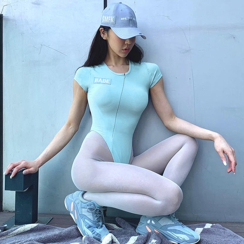 Women Sexy Zipper Blue Short Sleeve Bodysuit Button Crotch Slim Bottoming Tops O Neck Sport Jumpsuit Solid Color Blue Playsuit in Bodysuits from Women 39 s Clothing