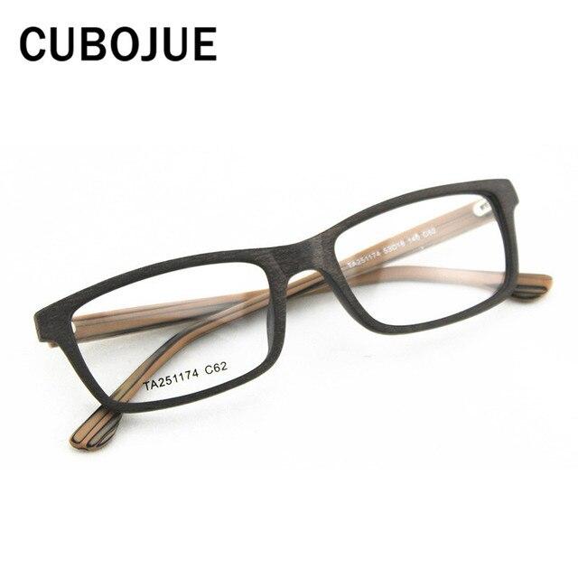 Cubojue Asetat Kacamata Pria Wanita Kayu Butir Kacamata Bingkai Kecil Kacamata  Lensa Pria Miopia Diopter Resep e6fe8392cd