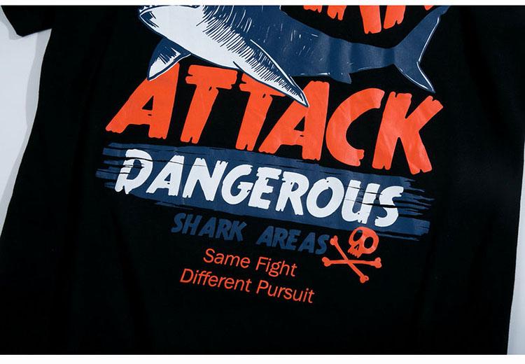 Aolamegs T-shirt Men Dangerous Big Shark Printed Short Sleeve Tee shirt Fashion Street Hip Hop Creative Tops Couples T shirts (15)