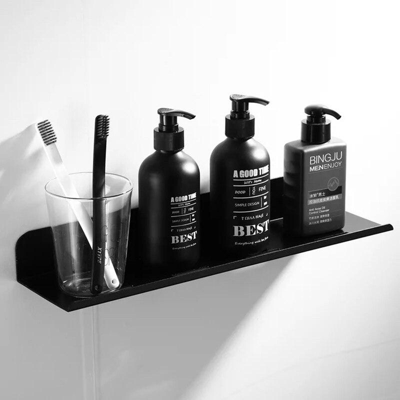 Nail Free Space Aluminum Black Silver Bathroom Shelves Kitchen Wall Shelf Shower Firm Rack Bathroom Accessories 20-60cm Lenght C