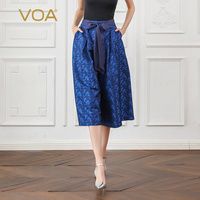 VOA шелк жаккард широкие штаны Свободные девять брюки Для женщин лук пояса середины талии Повседневное темно синий элегантные дамы Роскошны
