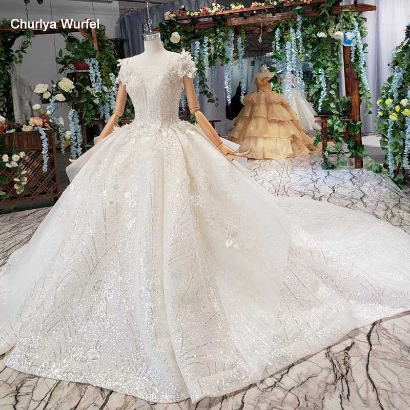 HTL521 princess wedding dresses with train o-neck flowers cap sleeves lace up back bridal gowns for girl robe de mariee fleur