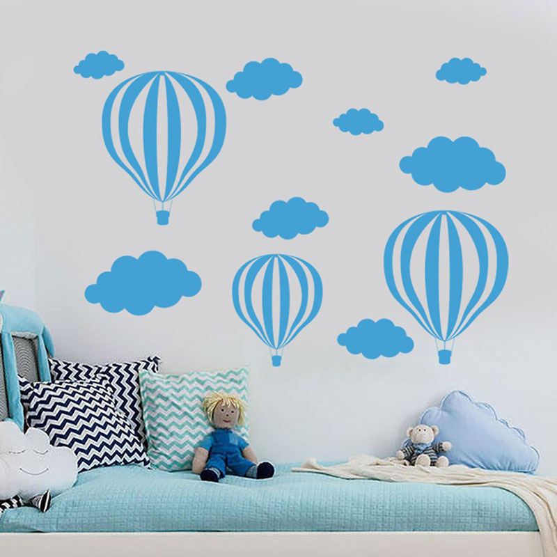 Hot Air Balloon Wall Decal Clouds Vinyl Nursery Wall Sticker Boys Baby Room Decor Home Removable Self Adhesive Wallpaper BO52 in Wall Stickers from Home Garden