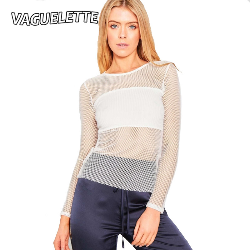 Vaguelette see transparent mesh t shirt women long sleeve for White t shirts that aren t see through