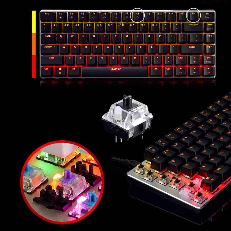 Ajazz AK33 لوحة مفاتيح الألعاب الميكانيكية السلكية الروسية/الإنجليزية تخطيط RGB/1 اللون الخلفية 82 مفتاح خالية من الصراع