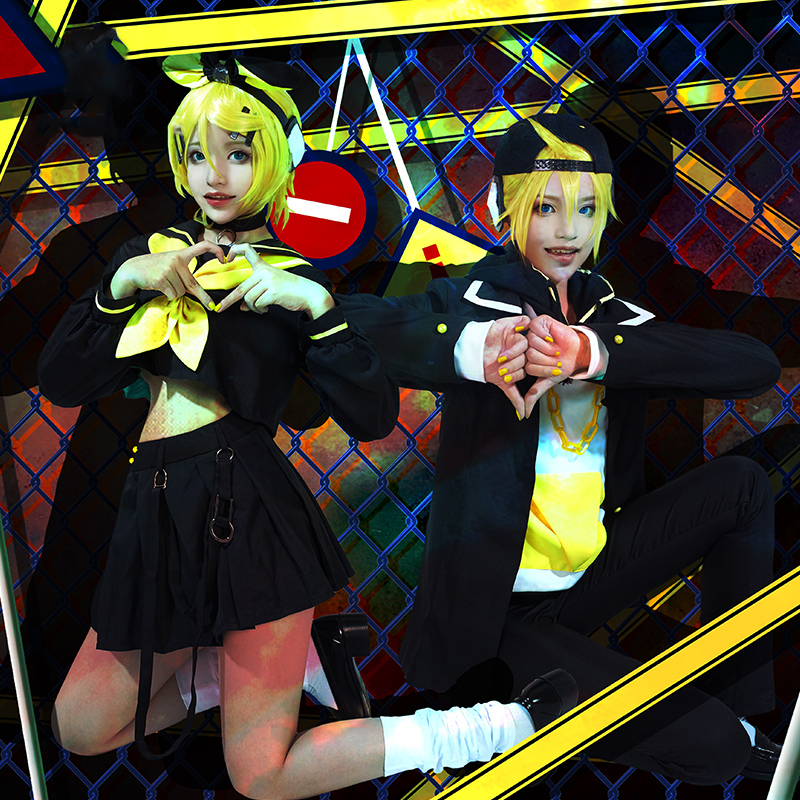 Anime! Vocaloid Kagamine Rin/Len Rettou Joutou Theme song for the 10th Anniversary Lovely Uniform Cosplay Costume Free Shipping image