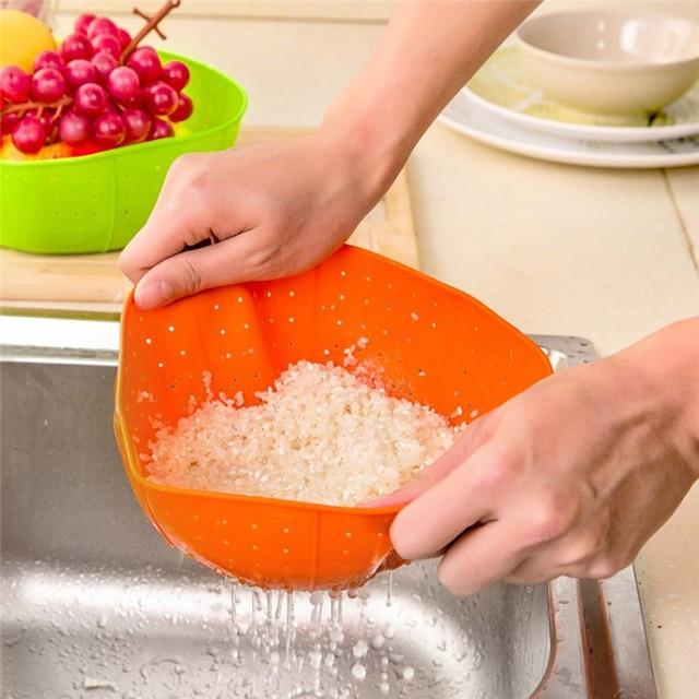 Kitchen Basket Multifunction Silicone Drain Rice Colander Washing Vegetables Fruit Baskets Gadgets Accessories