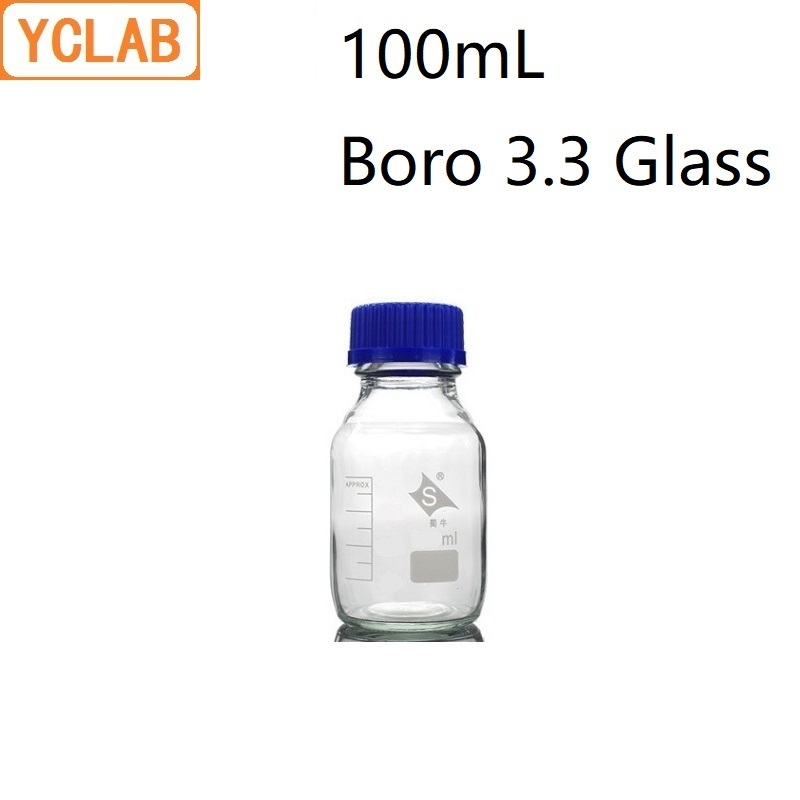YCLAB 100mL Reagent Bottle Screw Mouth With Blue Cap Boro 3.3 Glass Transparent Clear Medical Laboratory Chemistry Equipment