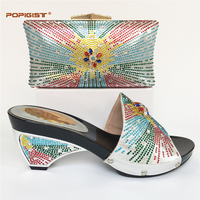 e4095ad9e Вечернее серебряные Хороший Африканская обувь и сумочка комплект итальянская  обувь и сочетающаяся сумка женская модные свадебные