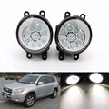 2 unids Car Styling Ronda DRL Parachoques Delantero Faros antiniebla LED de Alta Luminosidad día de Conducción de Niebla del Bulbo de Lámparas para Toyota RAV 4 Camry Yaris 2
