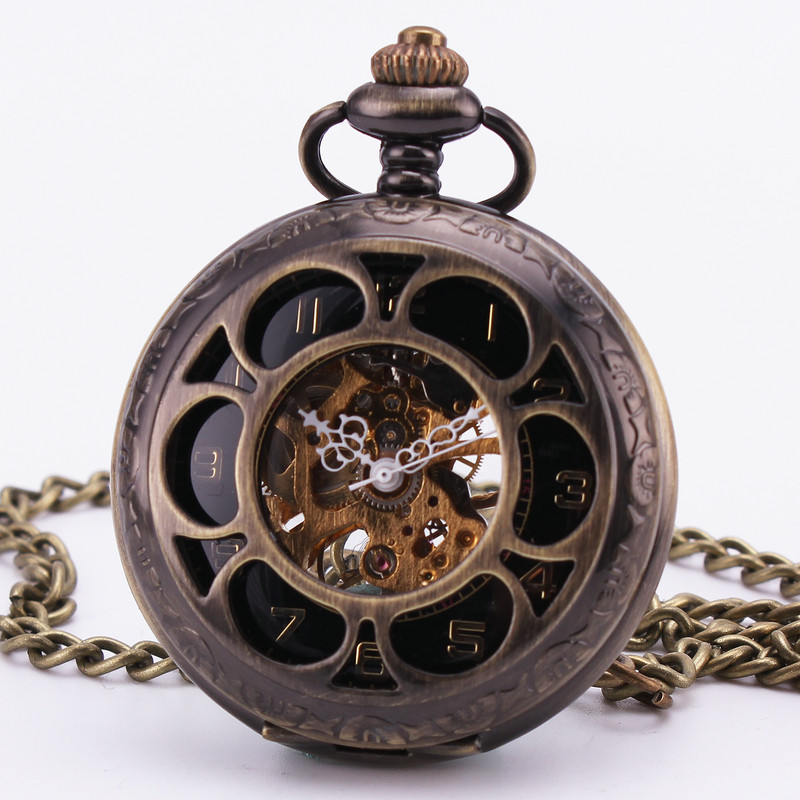 Steampunk Retro Vintage Baroque Bronze Hollow Black Golden Mechanical Pocket Watch Pendant Sweater Chain Clock Necklace